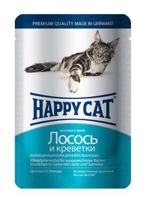 Паучи: лосось, креветки 0,1 кг HAPPY CAT. Цвет: белый