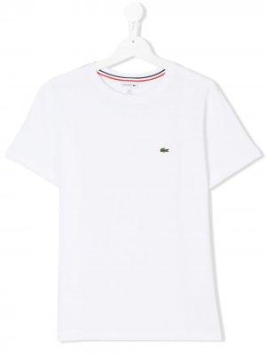 Подростковая футболка с логотипом Lacoste Kids. Цвет: белый