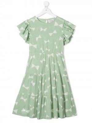 Расклешенное платье с принтом Bobo Choses. Цвет: зеленый
