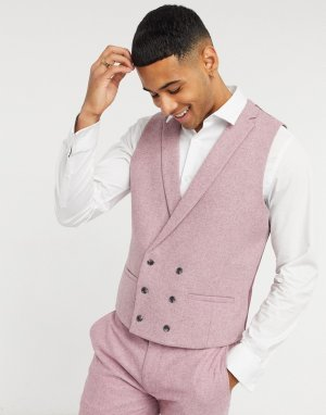 Розовый жилет узкого кроя из материала с добавлением шерсти -Розовый цвет Topman
