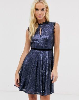 Короткое приталенное платье с пайетками -Темно-синий Little Mistress