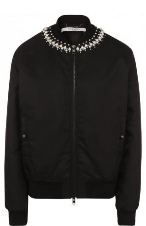 Однотонный бомбер на молнии с декоративной отделкой Givenchy. Цвет: черный