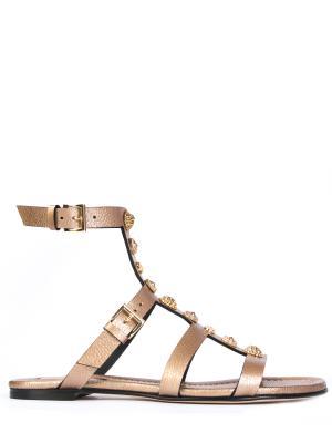 Кожаные сандалии GREYMER. Цвет: золотистый