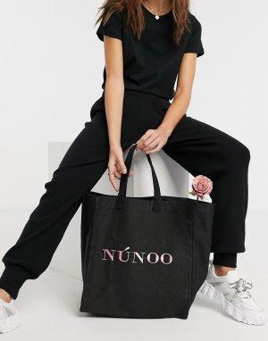 Большая сумка-тоут из переработанной ткани черного цвета -Черный Nunoo