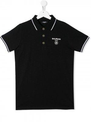 Рубашка-поло с контрастным логотипом Balmain Kids. Цвет: черный