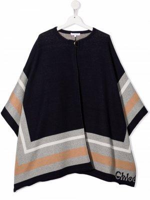 Colour-block wool-blend coat Chloé Kids. Цвет: синий
