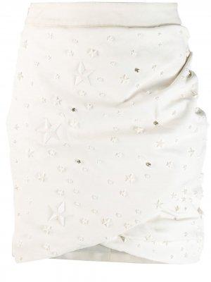 Юбка с заклепками Philipp Plein. Цвет: белый