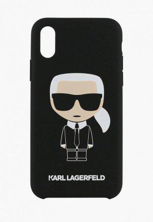 Чехол для iPhone Karl Lagerfeld Liquid silicone Iconic Hard. Цвет: черный