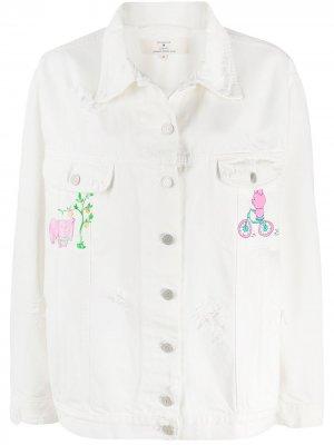 Джинсовая куртка с принтом Natasha Zinko. Цвет: белый