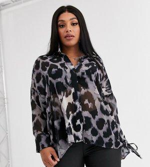 Oversize-рубашка с леопардовым принтом -Серый Religion Plus