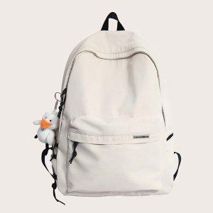 Школьная сумка минималистичный большей емкости SHEIN. Цвет: белый