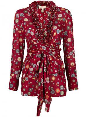 Пиджак с рюшами цветочным принтом Romeo Gigli Vintage. Цвет: красный