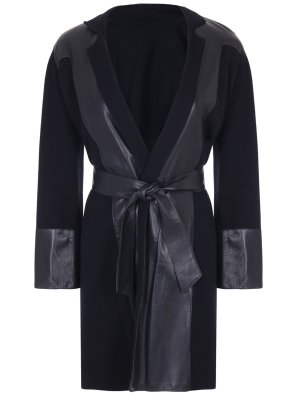 Пальто со вставками из кожи CRUCIANI
