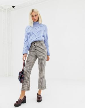 Укороченные расклешенные брюки в клетку -Коричневый Miss Selfridge