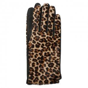 Кожаные перчатки Agnelle. Цвет: леопардовый