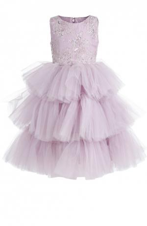 Платье Dennis Basso. Цвет: сиреневый