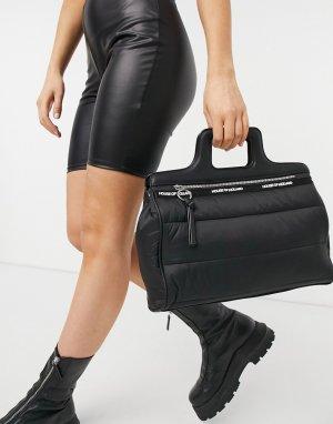 Черная стеганая сумка через плечо с ручкой -Черный цвет House of Holland