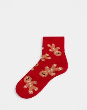 Носки-слиперы с имбирными человечками -Красный ASOS DESIGN