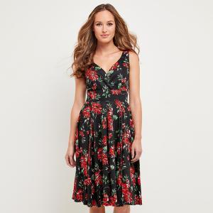 Платье расклешенное с цветочным рисунком, средней длины JOE BROWNS. Цвет: черный/рисунок цветочный