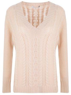 Пуловер вязаный кашемировый AGNONA. Цвет: бежевый