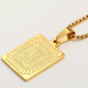 Мужское ожерелье с текстовым принтом SHEIN. Цвет: золотистый