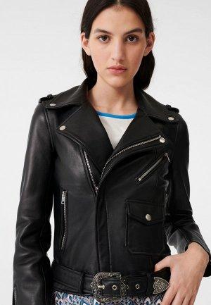 Куртка кожаная Maje. Цвет: черный