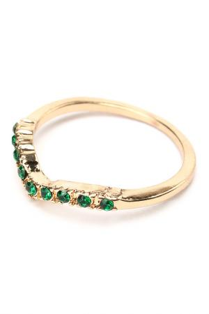 Кольцо Diva. Цвет: зеленый