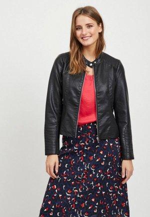 Куртка кожаная Vila. Цвет: черный
