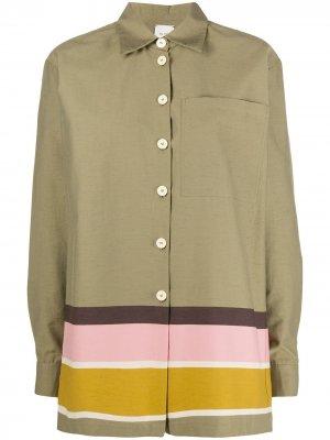 Полосатая рубашка на пуговицах Alysi. Цвет: зеленый