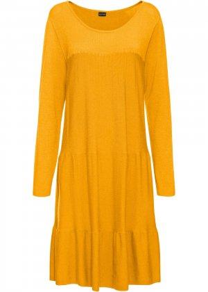 Платье вязаное bonprix. Цвет: желтый