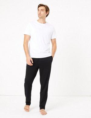 Пижамные брюки из чистого хлопка (2 пары) M&S Collection. Цвет: черный/серый