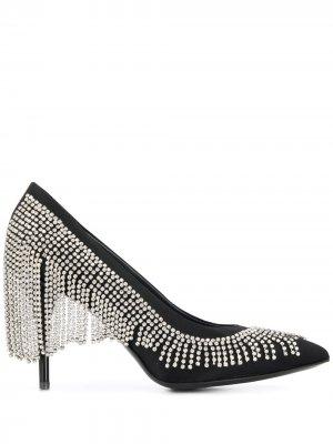 Туфли-лодочки с кристаллами Amen. Цвет: черный
