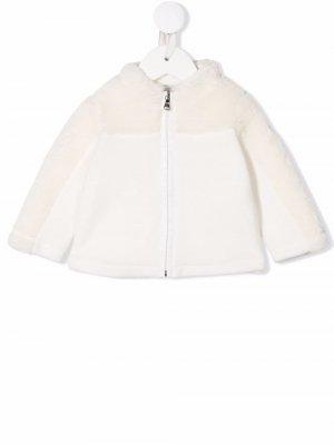 Faux-shearling zip-up bomber jacket Moncler Enfant. Цвет: белый