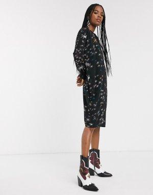 Платье-туника с фольгированным принтом -Черный Religion