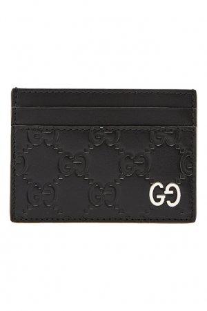 Черный кожаный футляр для карт с монограммами GG Gucci Man. Цвет: черный