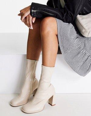 Кремовые лакированные полусапожки на высоком каблуке Epsom-Белый ASOS DESIGN