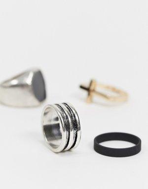 Набор из трех колец черного цвета -Черный цвет Bershka