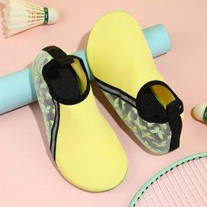 Носки минималистичный с текстовым принтом SHEIN. Цвет: жёлтые