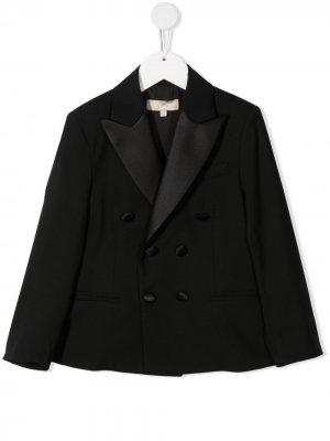 Двубортный пиджак-смокинг ELIE SAAB JUNIOR. Цвет: черный