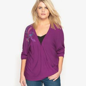 Пуловер с v-образным вырезом CASTALUNA. Цвет: розовый,черный