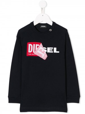 Толстовка с заплаткой логотипом спереди Diesel Kids. Цвет: синий