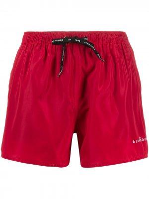 Плавки-шорты с кулиской и логотипом John Richmond. Цвет: красный