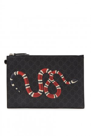 Черный клатч со змеей Gucci. Цвет: черный