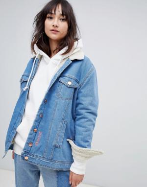 Джинсовая куртка с плюшевой подкладкой 2NDDAY 2nd Day. Цвет: синий