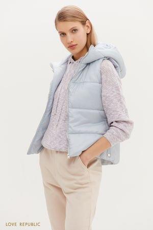 Стеганая теплая жилетка с капюшоном в голубом цвете LOVE REPUBLIC