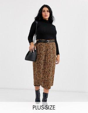 Юбка миди на пуговицах с леопардовым принтом -Коричневый Daisy Street Plus