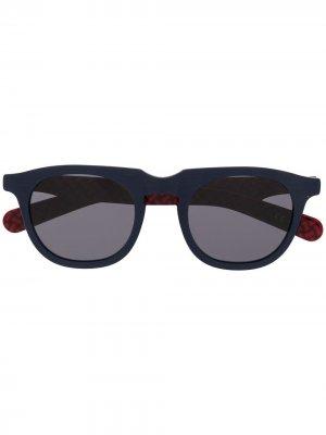 Солнцезащитные очки в круглой оправе Drumohr. Цвет: синий