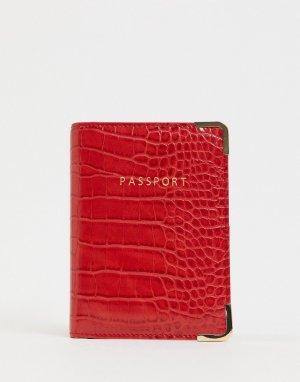 Красная обложка для паспорта с отделкой под кожу крокодила -Красный ASOS DESIGN