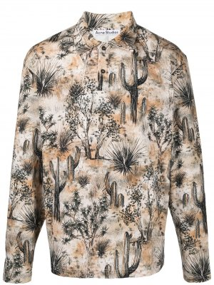 Рубашка поло с длинными рукавами и принтом Acne Studios. Цвет: нейтральные цвета