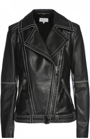 Кожаная куртка с поясом Escada Sport. Цвет: черно-белый